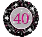 40th Black & Pink Sparkle Birthday Balloons. 40th Birthday Balloons.