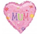Love You Mum Pink Heart Balloon. Mothers Day Balloons In A Box.
