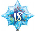 18th Birthday Shining Star Blue Balloon. 18th birthday balloons.