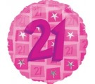 21st Pink Star Balloon. 21st Birthday Balloon Delivery.