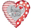 Red & White Hugs & Kisses Balloon. Balloons Delivered.